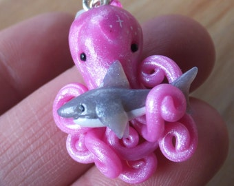 Shark-Hugging Octopus Charm Pendant made from polymer clay - lobster clasp - beads.