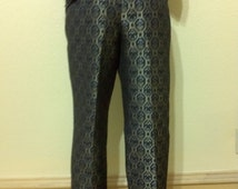 Vintage 60s Style METALLIC Black,Gold and Silver BROCADE Pants | 1960s StyleTapered Pin Up Cigarette Pants Mid  Waisted Trousers size 10 med