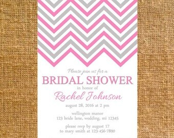 Customized Chevron Bridal Shower Invite - Digital File