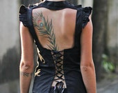 Womens Top - Steampunk, Blouse, Ruffle Collar, One Size Fits All, Open Back, Lace up back, Burning Man, Boho, Victorian Era, Lucy Lou