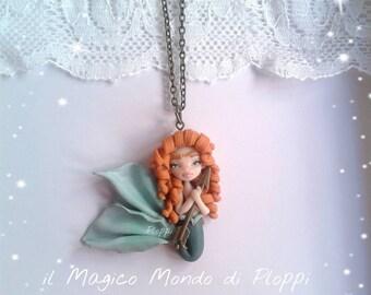 Merida, mermaid siren Fimo necklace