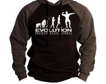 Bodybuilding Evolution Men's Two Tone Hoodie Charcoal/black  All size S-2XL