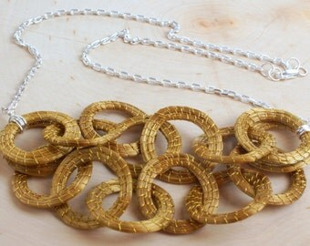 Golden Grass Chain Necklace, Golden Grass, Circles Necklace, Hoop Necklace, Organic Jewelry, Nature Jewelry