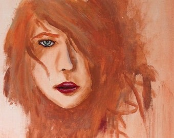 Abstract Portrait of Woman with Red Lips
