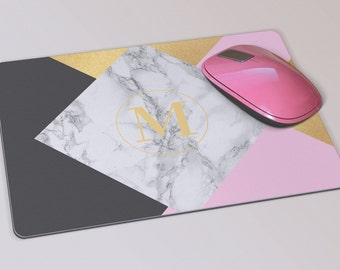 Fabric Mousepad, Mousemat, 5mm Black Rubber Base, 19 x 23 cm - Pink, White, Black, Marble and Gold Monogrammed Mousepad Mousemat