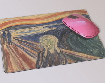 Fabric Mousepad, Mousemat, 5mm Black Rubber Base, 19 x 23 cm - The Scream by Norwegian Artist Edvard Munch Mousepad Mousemat