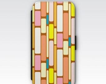Wallet Case for iPhone 8 Plus, iPhone 8, iPhone 7 Plus, iPhone 7, iPhone 6, iPhone 6s, iPhone 5/5s - Retro Geometric Pattern Wallet Case