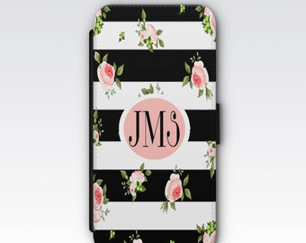 Wallet Case for iPhone 8 Plus, iPhone 8, iPhone 7 Plus, iPhone 7, iPhone 6, iPhone 6s, iPhone 5/5s - Black & White Pink Floral Monogram Case