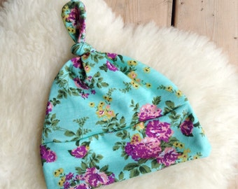 Mint Floral Top Knot Baby Beanie, Infant Hat, Newborn Beanie, Jersey Knit Hat, Newborn Hat