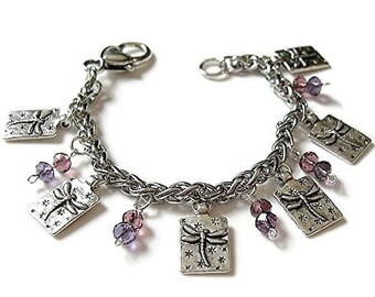 DRAGONFLY Crystal Charm Bracelet, 0ne of a Kind Charm Bracelet - Dragonfly lover, FLY!