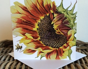 Sunflower and Bee Art Card