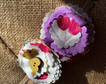 Baby girl hair clips • floral clips set of 2• made to order