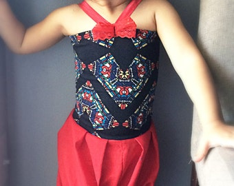 Babiy and toddler girl black and red summer romper • Summer mosaic print bubble