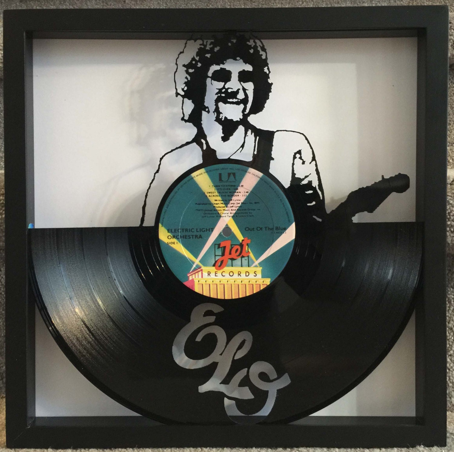 Elo out of the blue cut framed vinyl lp record art for Vinyl record wall art