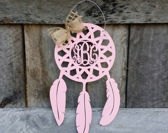 Monogram Dream Catcher Door Hanger - Painted Dream Catcher - Wooden Dream Catcher - Nursery - Wedding - Teen - Couple - Monogram