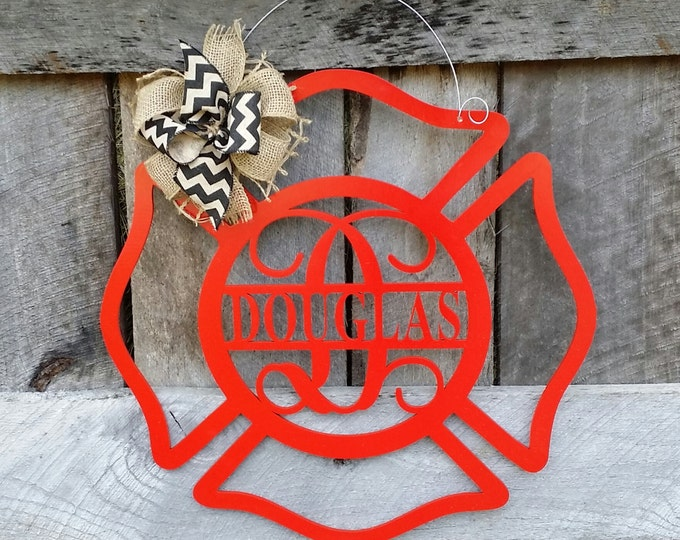 Personalized Fireman Door Hanger - Maltese Cross Wreath - Wedding Gift - Housewarming Gift - Personalized Gift
