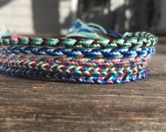 Hint of Aqua Collection: thin woven friendship bracelets