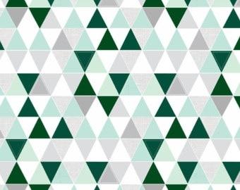 Hamptons Triangles Crib Quilt -Emerald // Mint // Gray  - baby  bedding