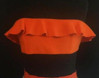 Orange ruffle bandeau top
