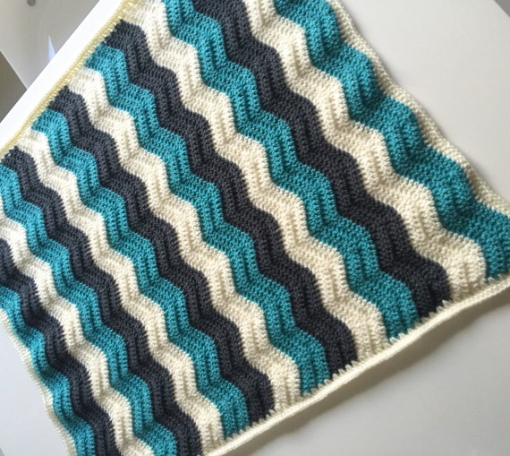 Ready to Ship Baby Crochet Blanket Baby Ripple Blanket