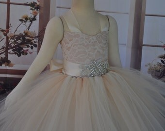 Ivory Lace Champagne Flower Girl Dress, Lace Ivory Champagne Toddler Dress, Vintage Inspired Flower Girl, Ivory Champagne Baby Dress,