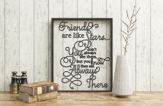 Friendship quote, Friends are like stars quote, birthday gift,Floating Quote, Friends floating frame, Personalized friendship, Friend's Gift