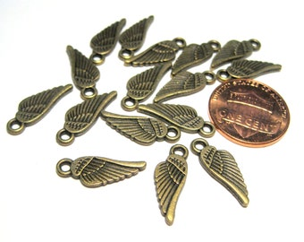 Antique Bronze Small Wing Charms Pendants Double Sided