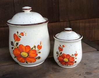 Vintage Canister set with orange flowers