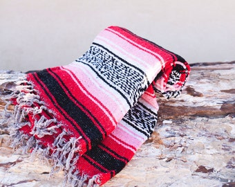 Pink and Red Mexican blanket