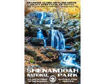 "Shenandoah National Park WPA-style poster. Color. 13"" x 19""  Original artwork, signed by the artist!"