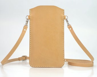iPhone 6s Shoulder Bag Leather, iPhone 6s Leather Case Adjustable Cross Body Strap, Leather iPhone 6s Crossbody Bag - Natural Beige Leather
