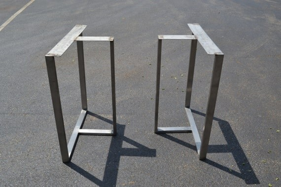 Counter Height Metal Table Legs : READY TO SHIP! Counter Height Brushed Stainless Metal T-Shaped Legs