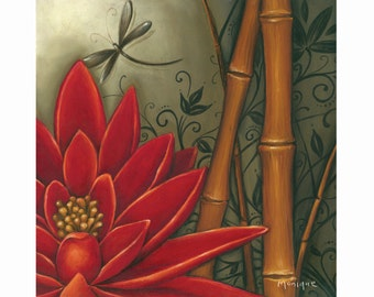 Red Lotus art, hand painted