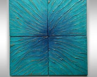 Golden Threads - Set of 4   Wall Tile Sculpture  Original Art - Individually textured stone tiles  Cobalt Blue Azure & Gold