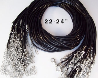 "Black Cord Necklaces 22-24"" inch 2mm or 16-18"" inch"