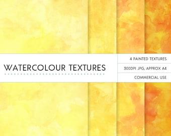 Yellow & orange watercolor background / digital papers