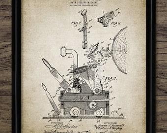 Bark Peeling Machine Patent Print - 1907 Forestry Design - Forestry Management - Logging Industry - Single Print #1424 - INSTANT DOWNLOAD