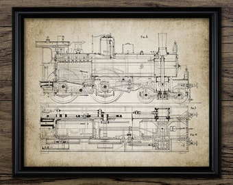 Vintage Steam Locomotive Art - Steam Train - Railroad Enthusiast - Rail Transport Vehicle - Railway - Single Print #303 - INSTANT DOWNLOAD