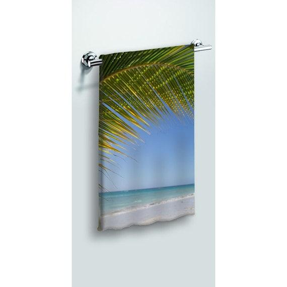 Tropical Decor, Beach Towel, Bathroom Decor, Palm Tree Photo, Ocean Themed Bath, Large Towel, Blue and Green, Bath Room Art, Landscape Photo