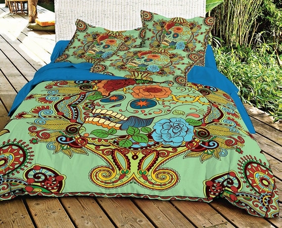 Green Sugar Skull Bedding Set Skull Duvet Cover With By