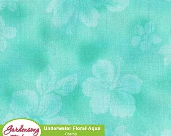 Under Water - Aqua Tonal Flowers 52312-2B by Cosmo Textiles Cotton Shirting Fabric Yardage