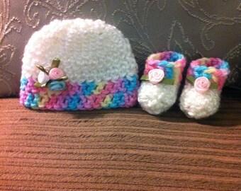 Micro Preemie Hat and Booties, Preemie Hat and Booties, Baby Hat, Baby Booties