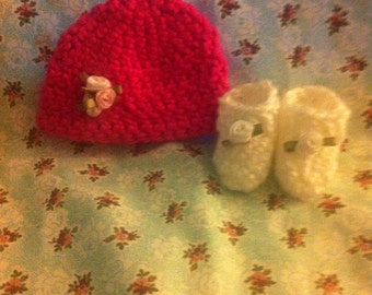 Micro Preemie Hat and Bootie, Preemie Hat and Booties, Micro Preemie Hat, Preemie Hat