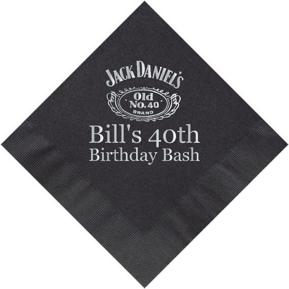personalized napkins birthday jack daniels 40th by personalkitten