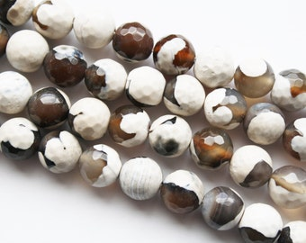 Agate, Brown, White, Stone Beads, Polished Agate Beads - 10mm - 36ct - D081