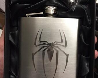 SPIDER-MAN symbol logo HIPFLASK Stainless Steel 6 oz hip flask Amazing Spidey marvel web slinger