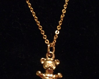 Teddy Bear Necklace, Gold Bear Charm/Pendant, Kids Gold Chain Necklace, Child's Teddy Bear Necklace, Vintage Gold Jewelry