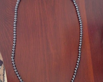 Ladies hematite and Sterling silver 18 inch beaded necklace