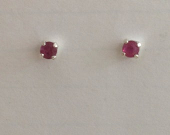 Genuine ruby July birthstone 1/4 ct t.w solitaire stud earrings