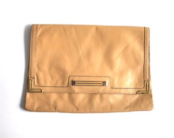 Vintage Faux Leather Camel Color Clutch Made by Phillippe